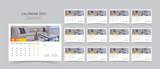 Modello di calendario 2021 con foto