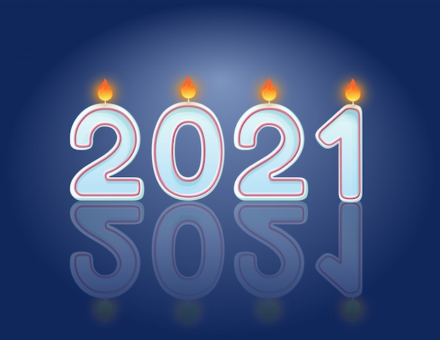 2021 candele concetto di design orizzontale cartolina celebrazione di capodanno. candele accese festive