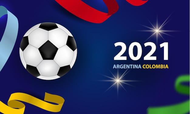Banner di calcio campionato 2021 con nastri colorati