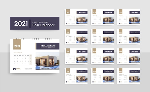 Modello di calendario da tavolo creativo 2021 per società immobiliare