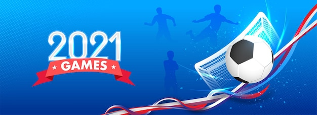 Concetto di giochi di calcio 2021 con atletica leggera, rete della porta e onda astratta