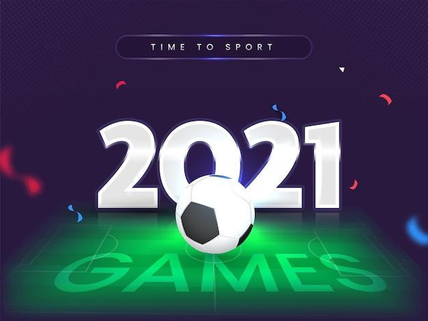 Testo dei giochi 2021 con pallone da calcio 3d su sfondo dello stadio effetto luce viola e verde.