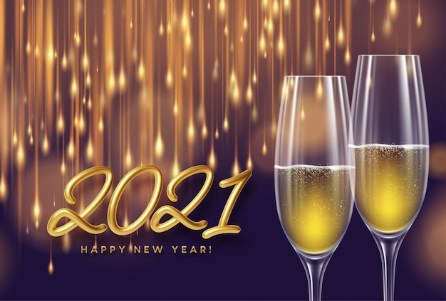 2021 lettere d'oro sullo sfondo di capodanno con bicchieri di champagne