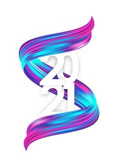 2021 biglietto di auguri con forma di tratto di vernice acrilica contorta colorata al neon su sfondo bianco. felice anno nuovo