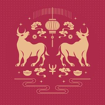 2021 felice anno nuovo cinese di bue e decorazione di lanterne