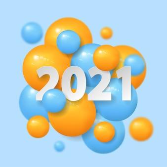 2021 felice anno nuovo 3d palla e numero