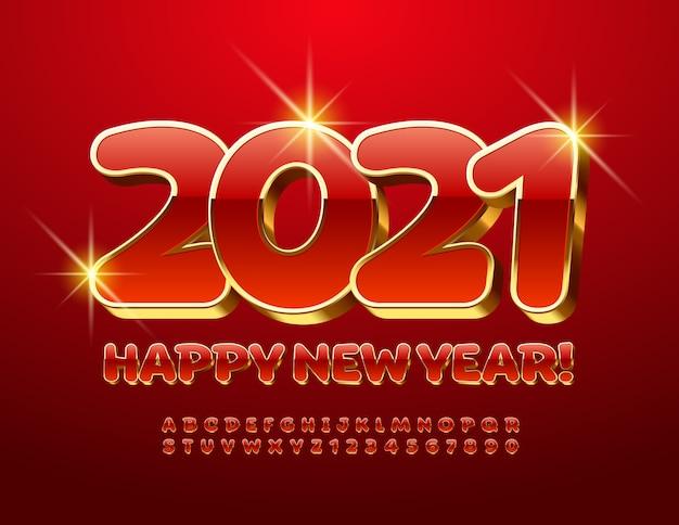 Felice anno nuovo 2021. carattere maiuscolo 3d. lettere e numeri dell'alfabeto rosso e dorato di lusso.