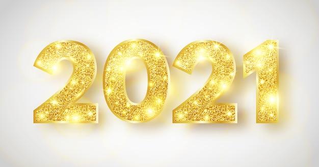 Sfondo di felice anno nuovo 2021. numeri scintillanti di lusso.