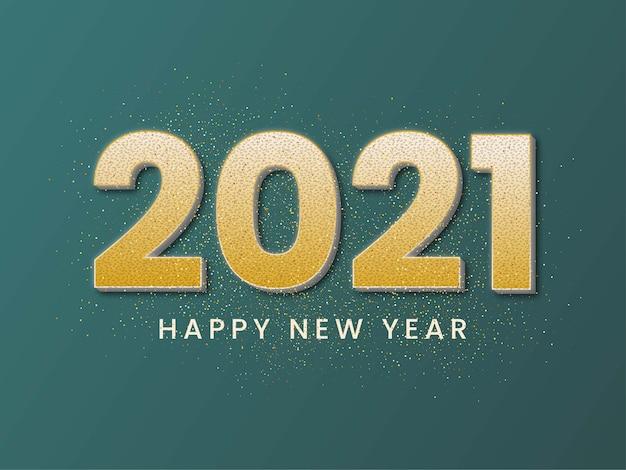 2021 felice anno nuovo sfondo con numeri colorati metallizzati oro.