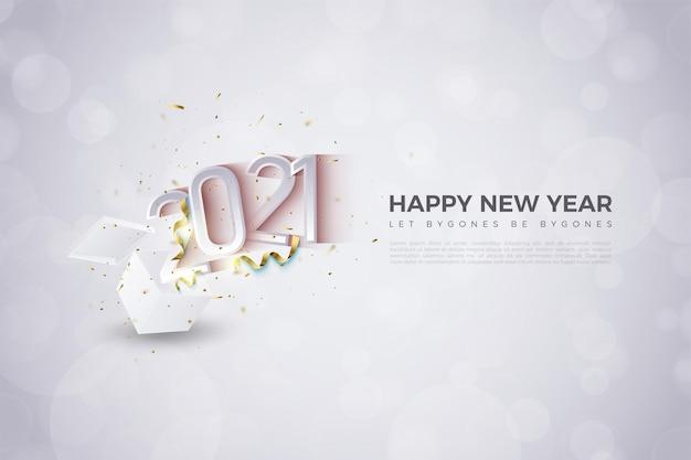 Sfondo di felice anno nuovo 2021 con illustrazione di numeri che esplodono da scatole a sorpresa