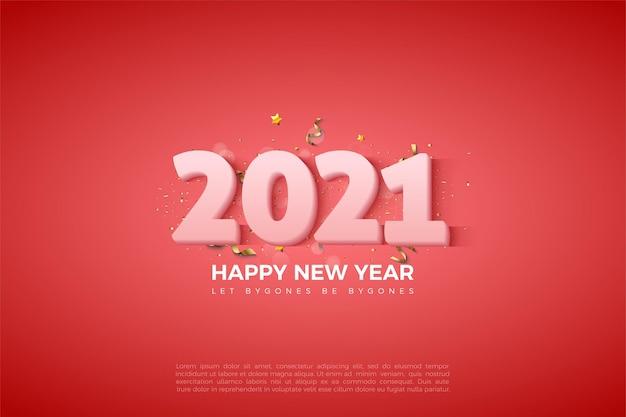Sfondo di felice anno nuovo 2021 con numeri bianco latte su sfondo rosso