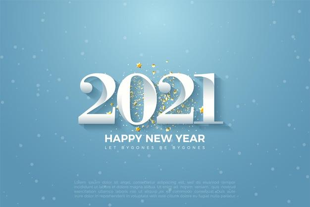 2021 felice anno nuovo sfondo con illustrazione di numeri su cielo blu