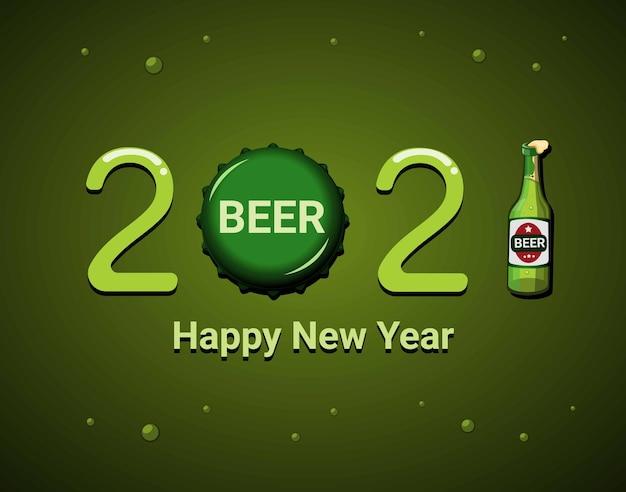 Celebrazione di felice anno nuovo 2021 con modello di tema simbolo di prodotto di birra. concetto nel vettore dell'illustrazione del fumetto