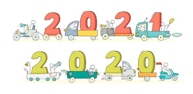 2021 felice anno nuovo concetto con le automobili. illustrazione di doodle del fumetto con le persone liitle si preparano alla celebrazione. disegnato a mano per il disegno di natale.