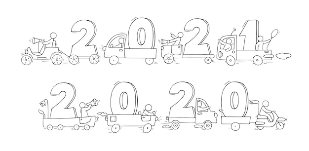 2021 felice anno nuovo concetto con le automobili. cartoon doodle illustrazione con liitle persone si preparano alla celebrazione. disegnato a mano per il disegno di natale.