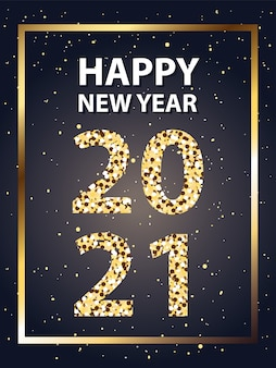2021 felice anno nuovo in cornice con stelle in stile oro, benvenuto festeggia e saluta illustrazione a tema