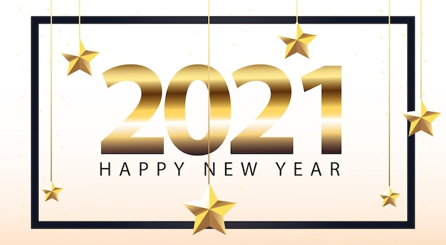 2021 felice anno nuovo in cornice con stelle che appendono stile oro, benvenuto festeggia e saluta illustrazione a tema