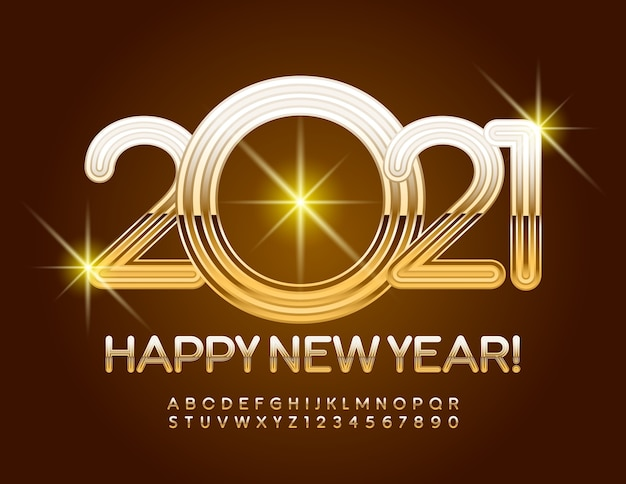 2021 happy new year gold font luxury alphabet letters and numbers set