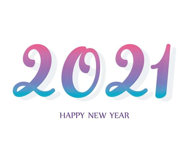 2021 felice anno nuovo, gradiente con illustrazione della carta dei numeri delle ombre