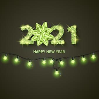 2021 banner di auguri di felice anno nuovo anno nuovo 2021 con trama dorata e glitterata brillante