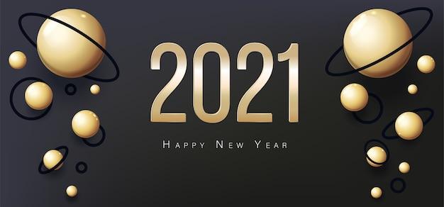 Cartolina d'auguri di felice anno nuovo 2021. palle d'oro e posto per il testo. volantino, poster, invito o banner. design di lusso succinto. sfondo astratto