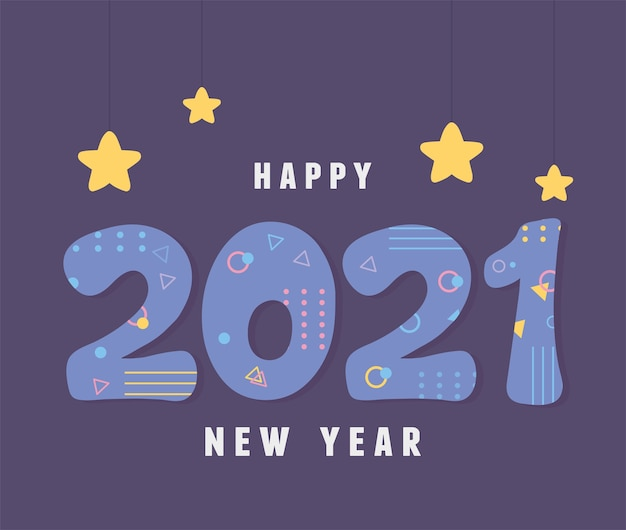 2021 felice anno nuovo, cartolina d'auguri in stile retrò decorazione di memphis illustrazione