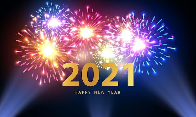 Cartolina d'auguri di felice anno nuovo 2021 con fuochi d'artificio