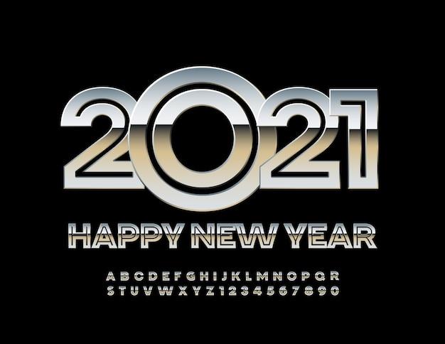 2021 happy new year metal creative font silver alfabeto lettere e numeri impostati