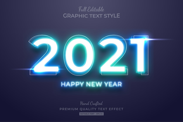 2021 happy new year neon gradient editable text effect font style