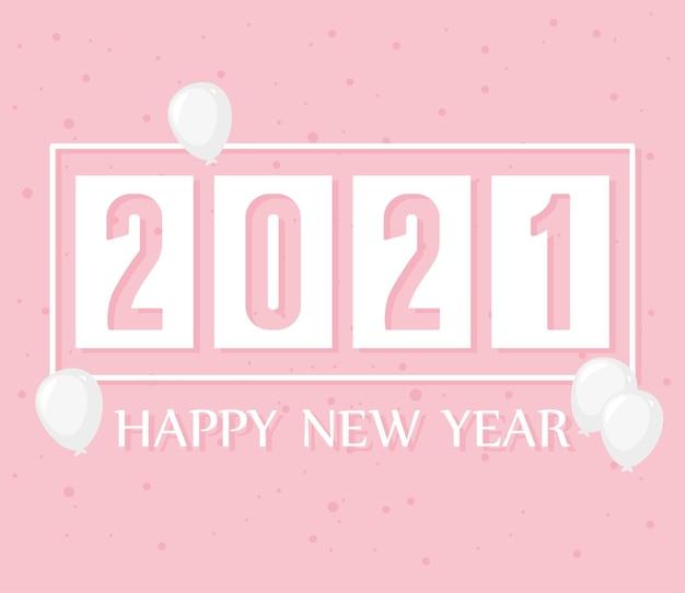 2021 felice anno nuovo, pois rosa e decorazione di palloncini illustrazione