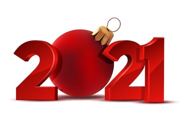 Felice anno nuovo 2021. progettazione di numeri rossi della cartolina d'auguri con la palla rossa di natale. vacanza .