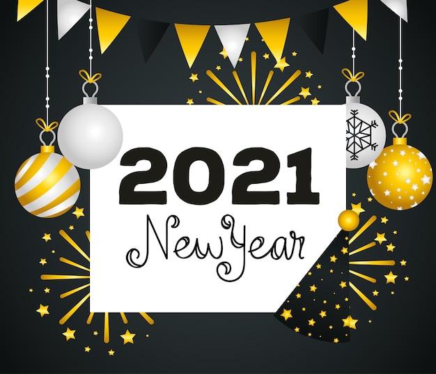 2021 felice anno nuovo design di sfere e fuochi d'artificio, benvenuto festeggia e saluta