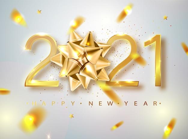 Vettore di felice anno nuovo 2021 con fiocco regalo dorato