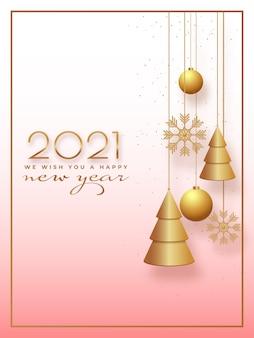 Felice anno nuovo 2021 che desiderano carta o modello di progettazione