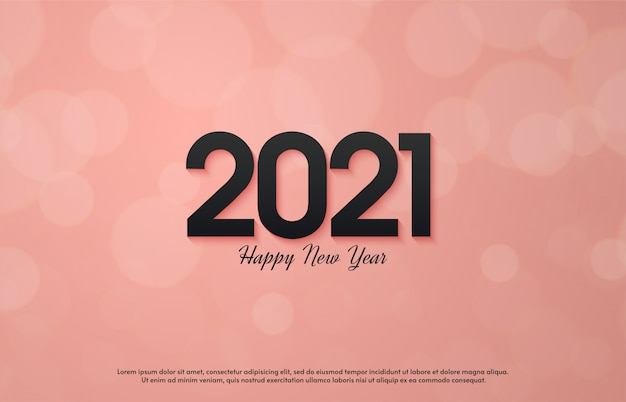 2021 felice anno nuovo con 3d numeri neri su sfondo rosa.