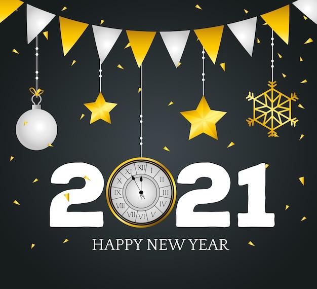 2021 felice anno nuovo con design dell'orologio, benvenuto festeggia e saluto