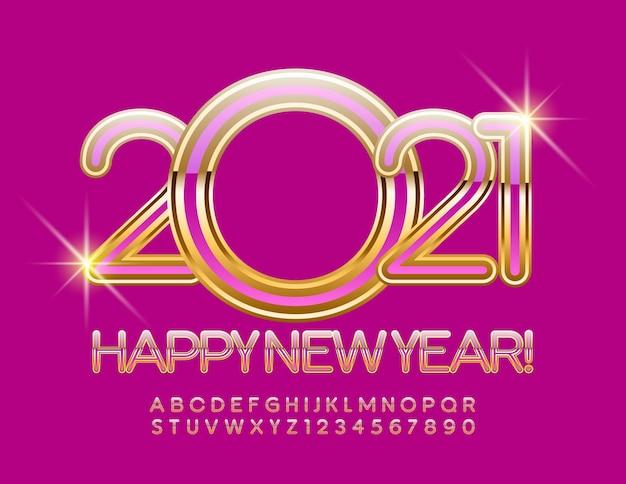 Felice anno nuovo 2021 con eleganti lettere e numeri dell'alfabeto rosa e oro. carattere stile glamour