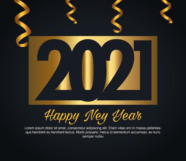 2021 felice anno nuovo con design di coriandoli d'oro, tema di benvenuto e saluto