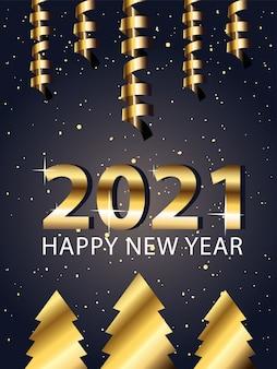 2021 felice anno nuovo con alberi di pino in stile oro, benvenuto festeggia e saluta illustrazione a tema