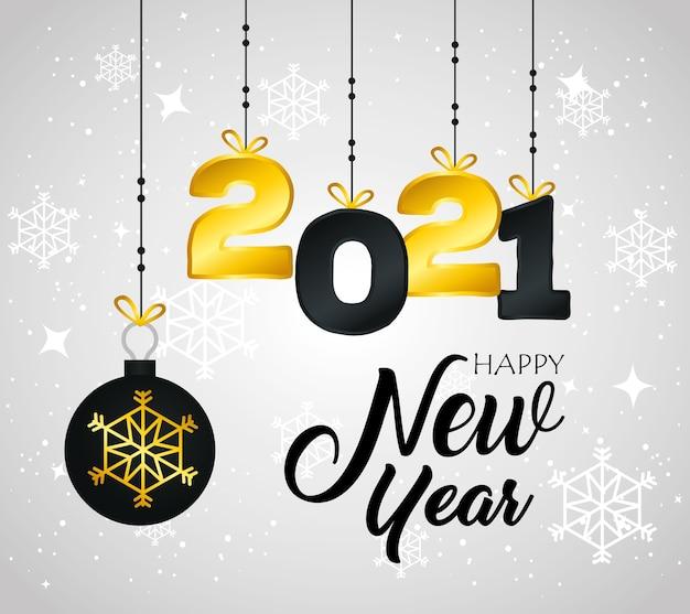 2021 felice anno nuovo con design appeso a sfera, benvenuto festeggia e saluto