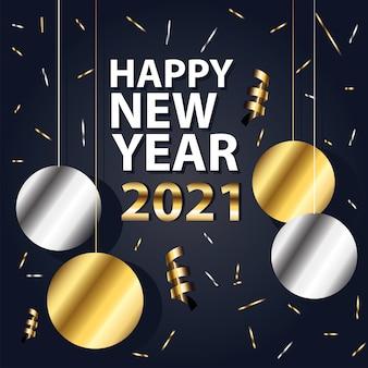 2021 felice anno nuovo con sfere che pendono design in stile oro e argento, benvenuto festeggia e saluta