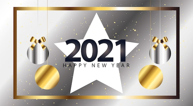 2021 felice anno nuovo con stella e sfere appese in stile argento, illustrazione di tema di benvenuto e saluto