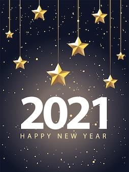 2021 felice anno nuovo con stelle che appendono stile oro, benvenuto festeggia e saluta illustrazione a tema