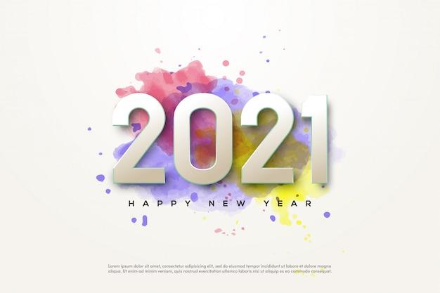 2021 felice anno nuovo con numeri bianchi in stile acquerello
