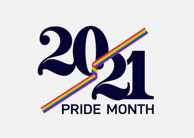 Concetto del mese dell'orgoglio lgbt 2021. bandiera arcobaleno di vettore di libertà con cuore. evento estivo annuale di parata gay. simbolo di orgoglio con cuore, lgbt, minoranze sessuali, gay e lesbiche. segno del progettista del modello, icona