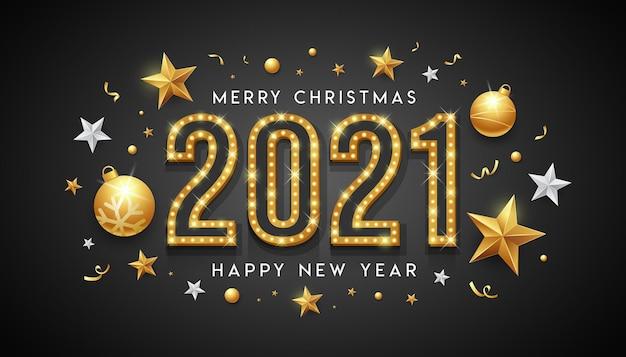 2021 buon natale e felice anno nuovo, luce al neon dorata