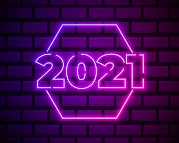 Testo al neon 2021. modello di disegno di nuovo anno 2021. banner leggero.