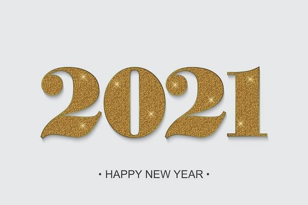 Sfondo di capodanno 2021 con numeri d'oro
