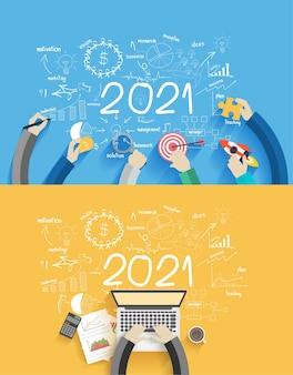 Diagrammi e grafici creativi del disegno di affari del nuovo anno 2021