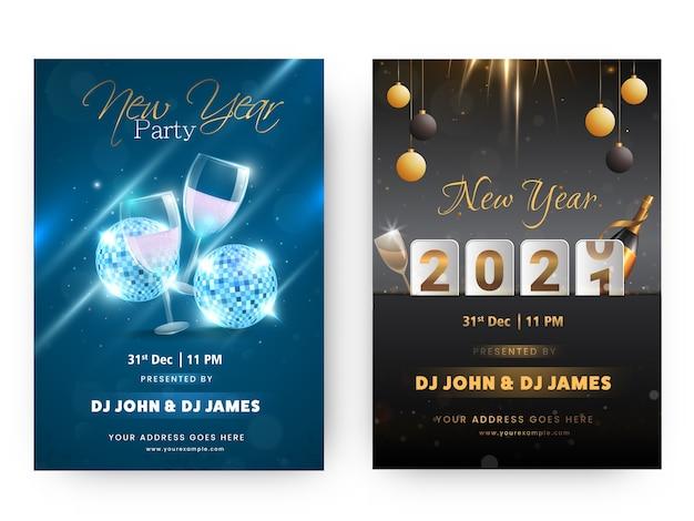 Volantino festa di capodanno 2021 o modello di design nelle opzioni di colore blu e nero